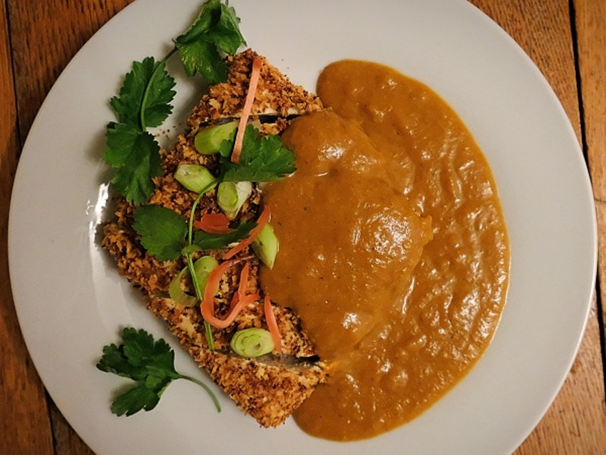 I've drizzled my katsu curry sauce over tofu cutlets.