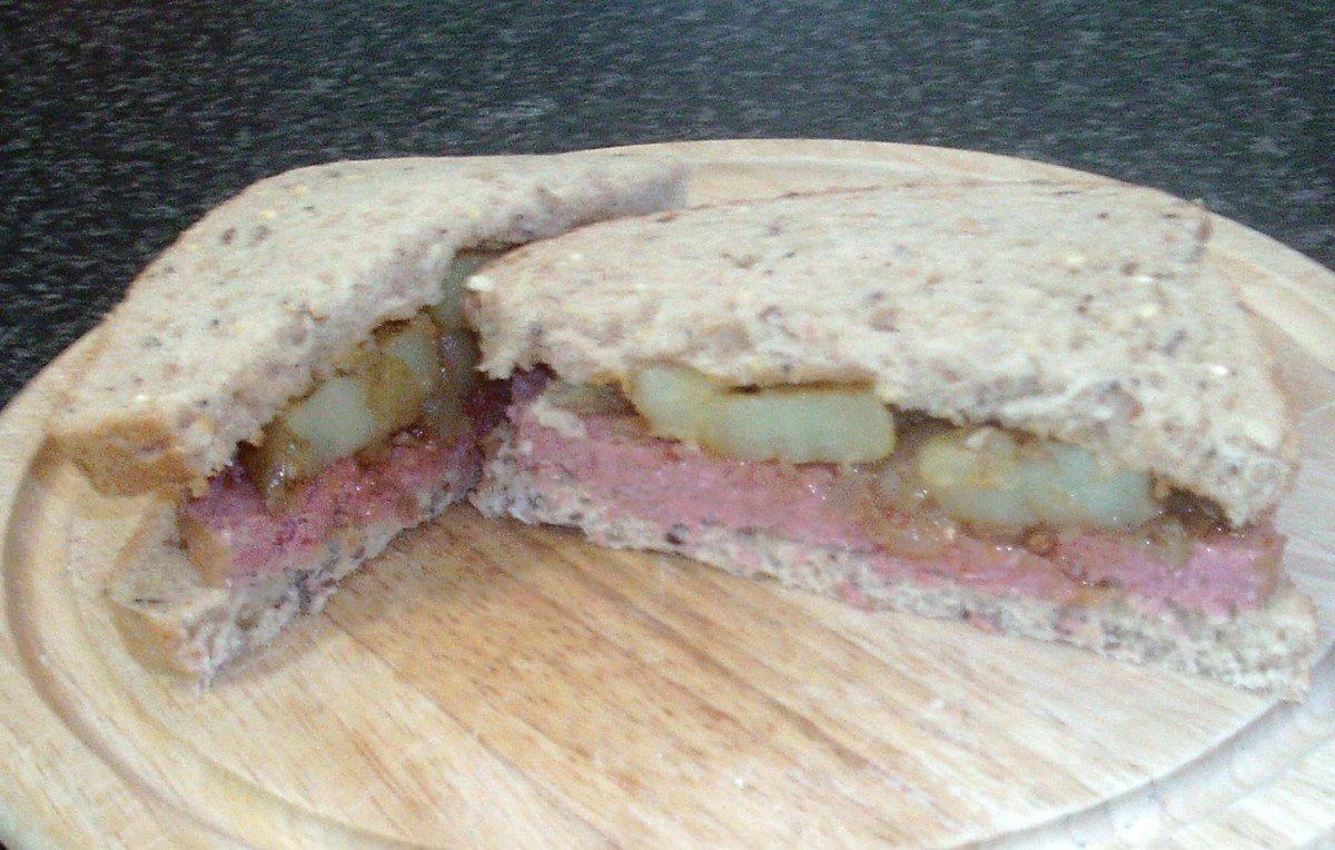 Corned beef with chilli and turmeric spiced potatoes and onions sandwich