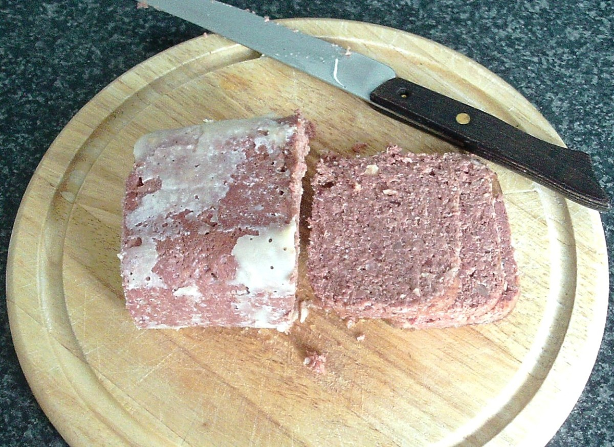 Slicing canned corned beef