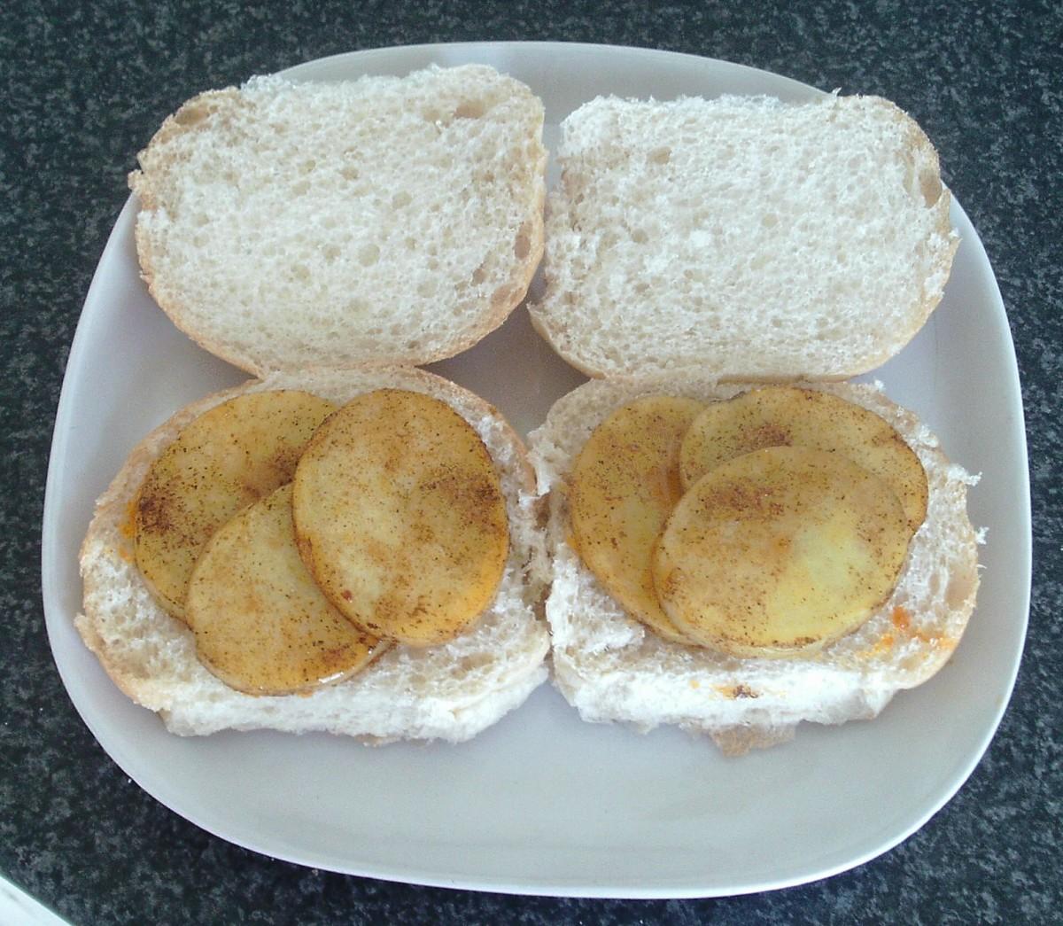 Fried potatoes on rolls