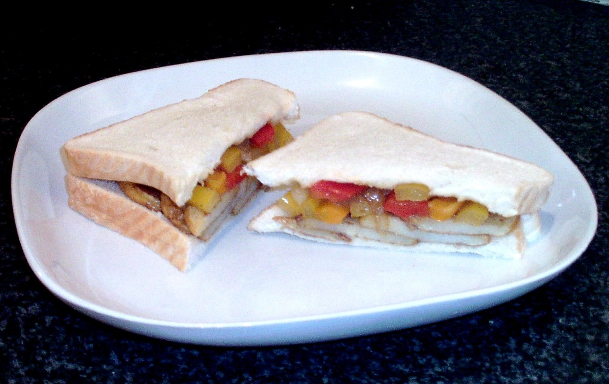 Chinese 5 Spiced Fried Potatoes, Peppers and Onion Sandwich