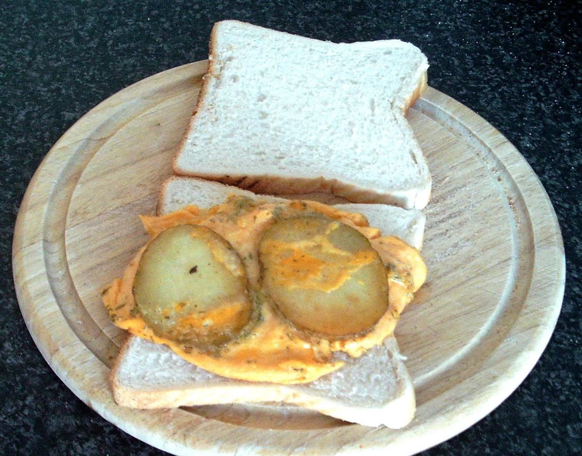 Fried egg omelette portion on bread