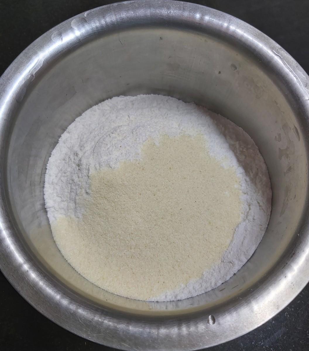 Add the semolina (or suji or cream of wheat).