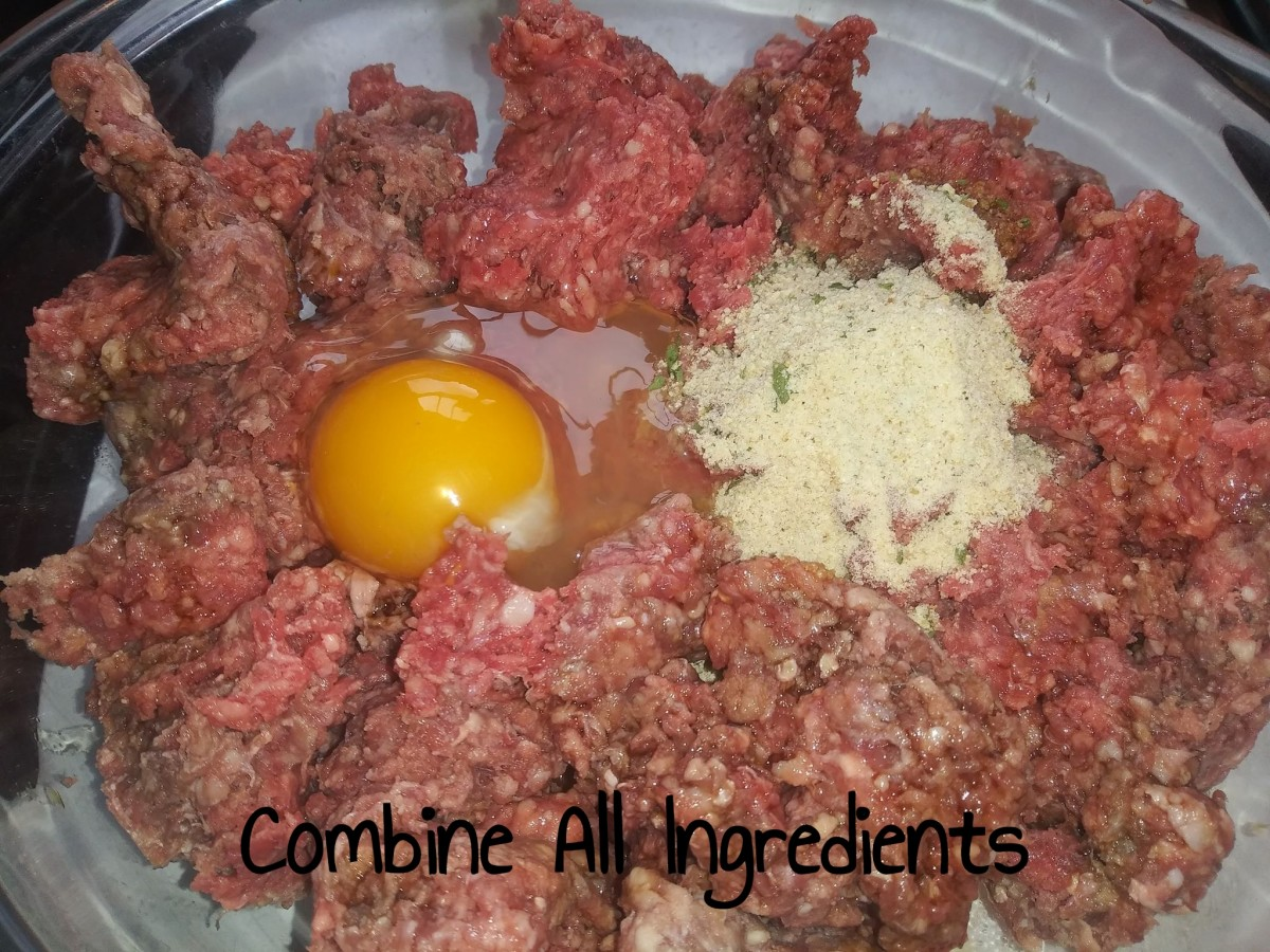 Combine all ingredients together, mix together with your hands.