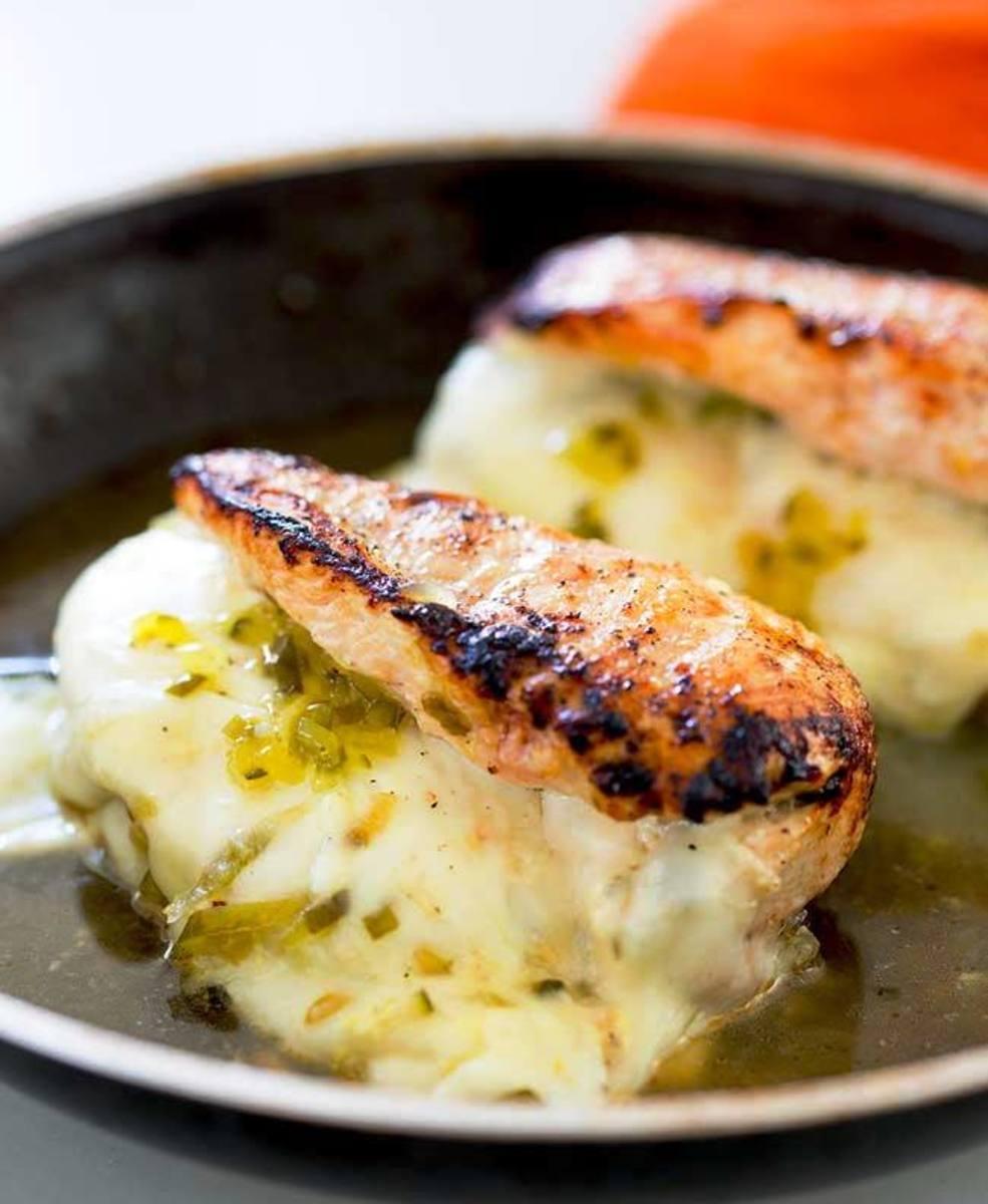 Pickle-stuffed chicken breasts