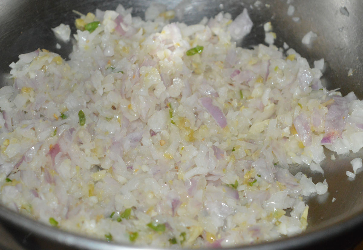 Add chopped onions. Saute until the mixture becomes pinkish.