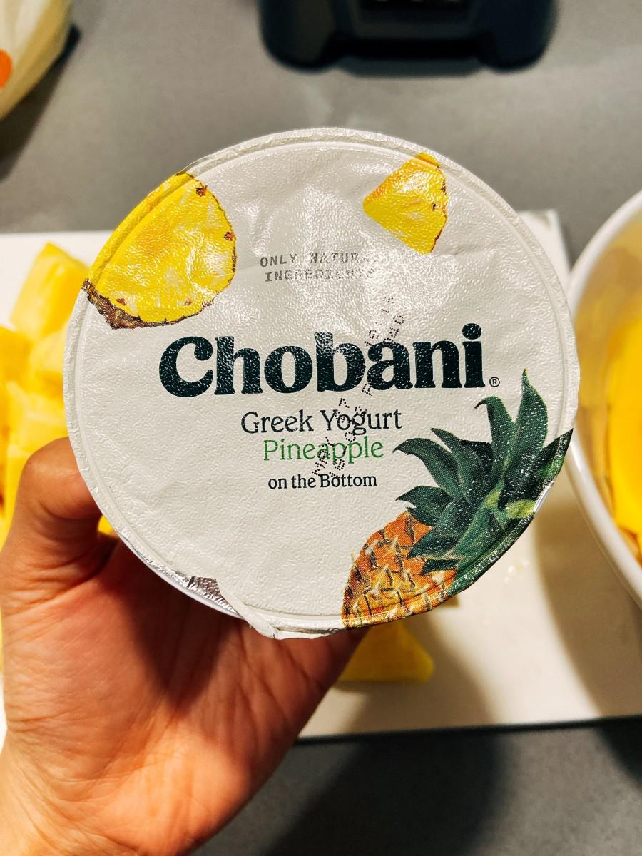 The Greek yogurt with pineapple chunks in it.