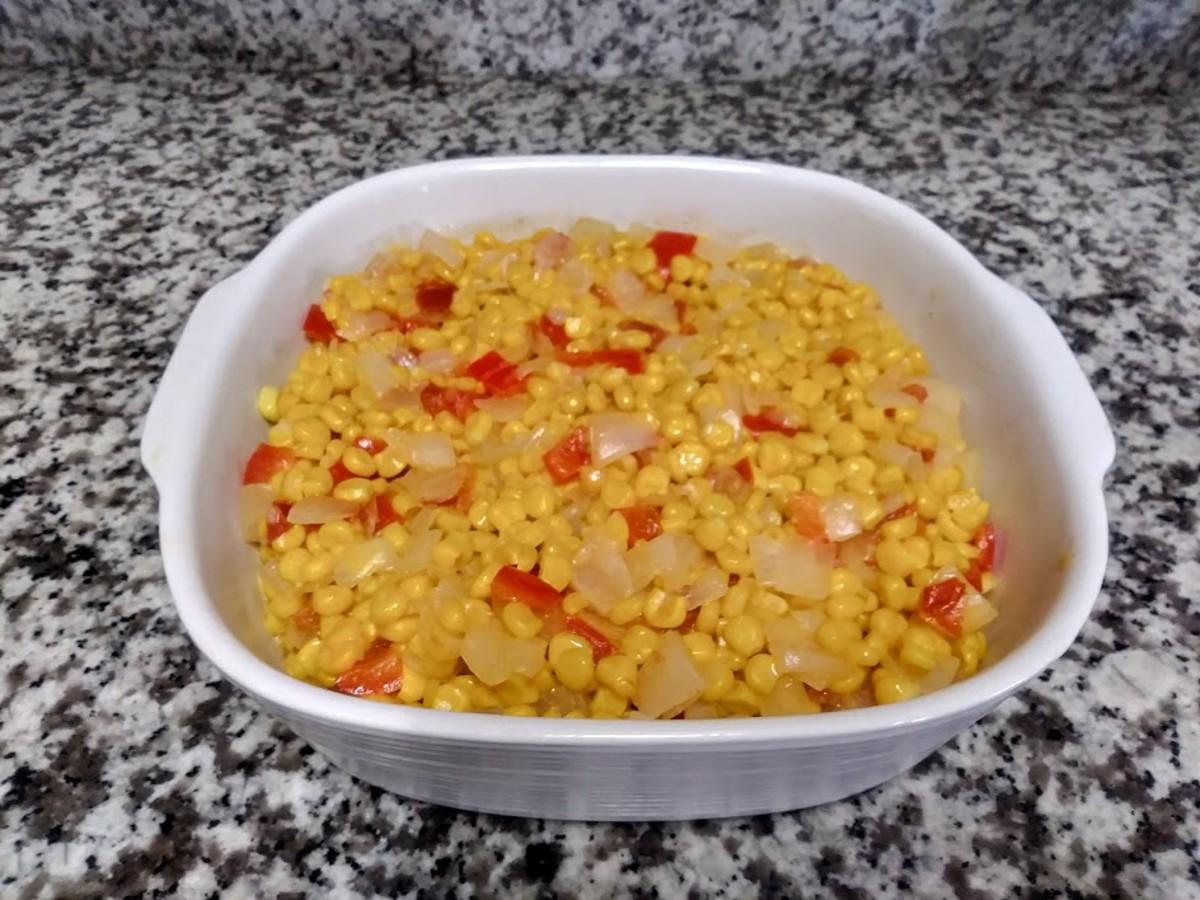 Pour the mixture into a casserole dish.