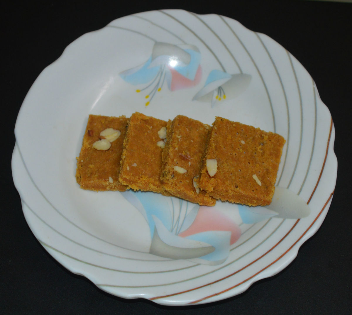 Flavorful and delicious besan burfi is ready! Enjoy. Store the remaining burfi in an airtight container for up to 10 days.