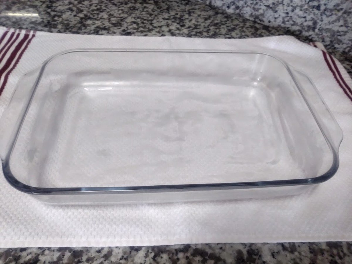 Grease a 9 x 13 in. glass baking dish. I use  unsalted butter.