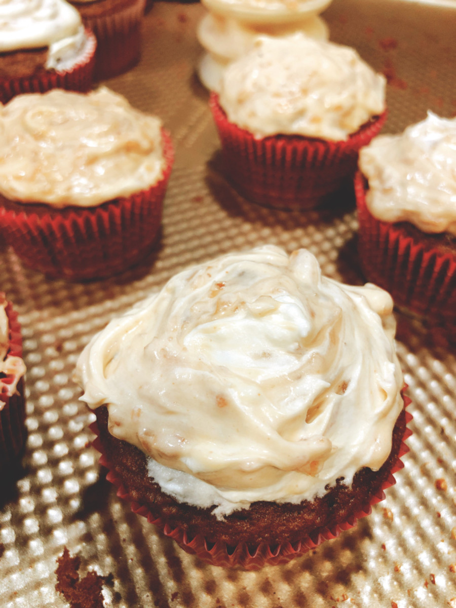 The coconut-pecan frosting is delicious even without the chocolate frosting.