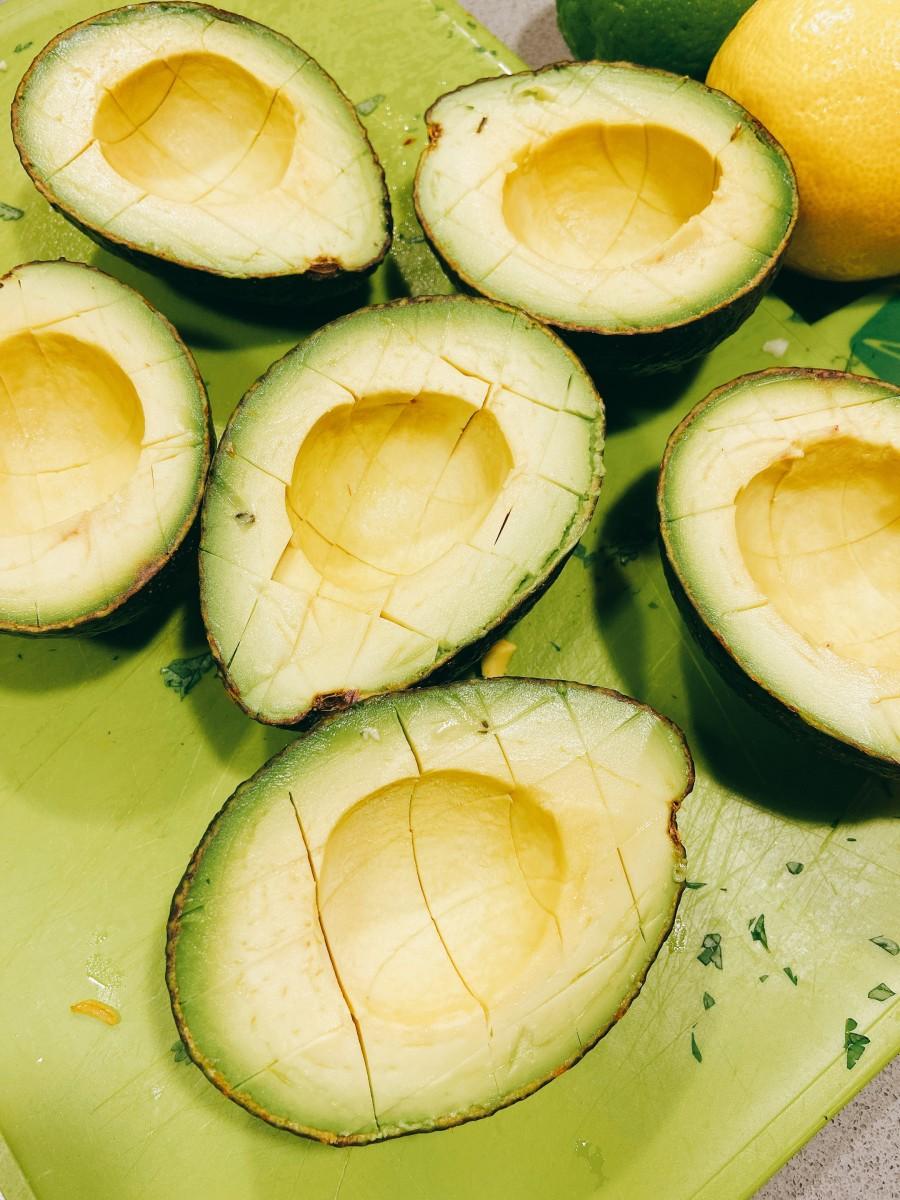 Three ripe avocados, pitted.