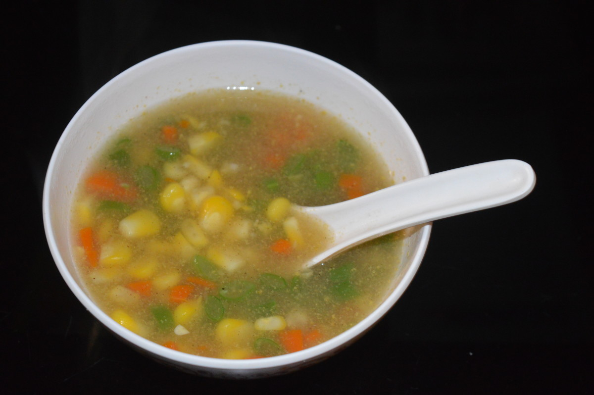 Your favorite restaurant-style sweet corn vegetable soup is ready to serve! Enjoy sipping this yummy soup!