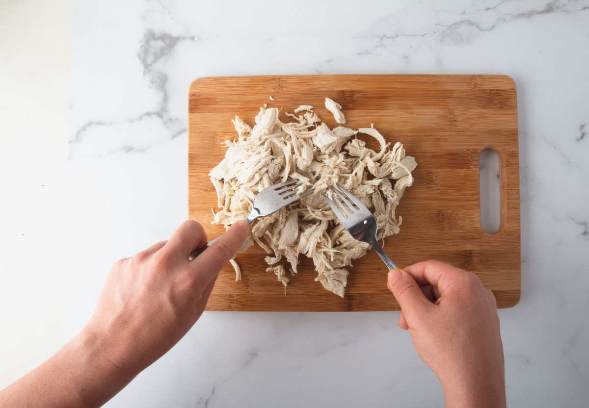 This chicken is easy to shred using two forks.
