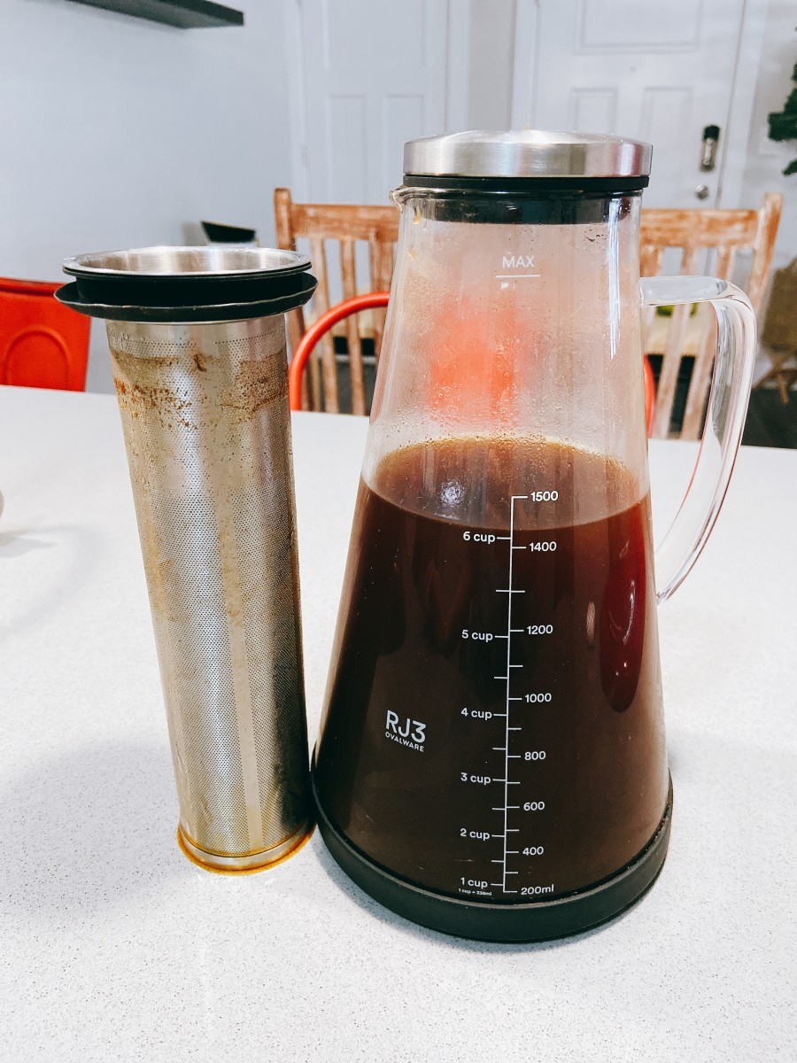 Once the coffee is to your preference, stop brewing by removing the filter and the grounds.