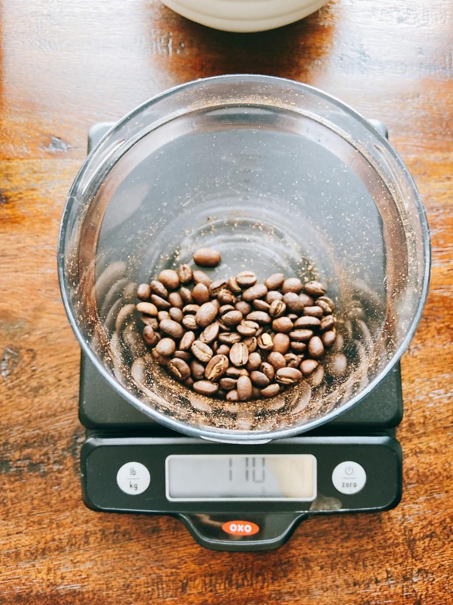 Weigh 110 grams of freshly roasted coffee beans.
