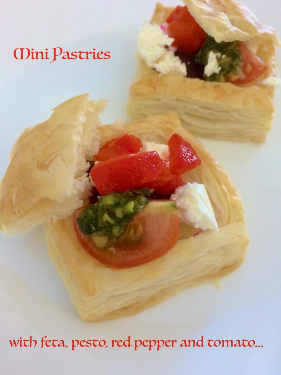 Feta, Pesto, Red Pepper and Tomato Pastries