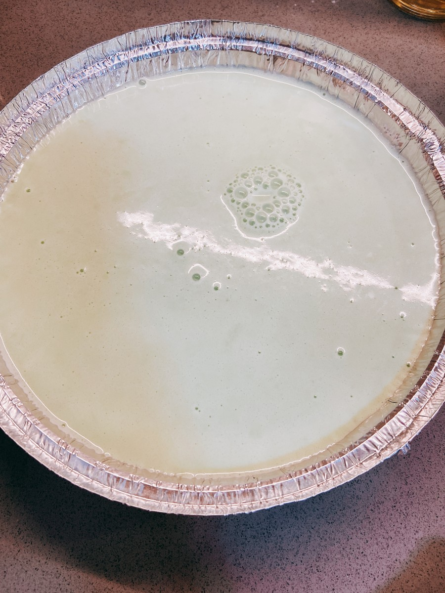 Pour the batter into a greased round or square pan.
