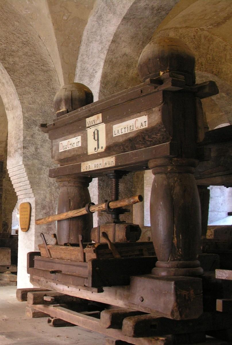 Medieval  wine press in the Eberbach Monastery, Germany