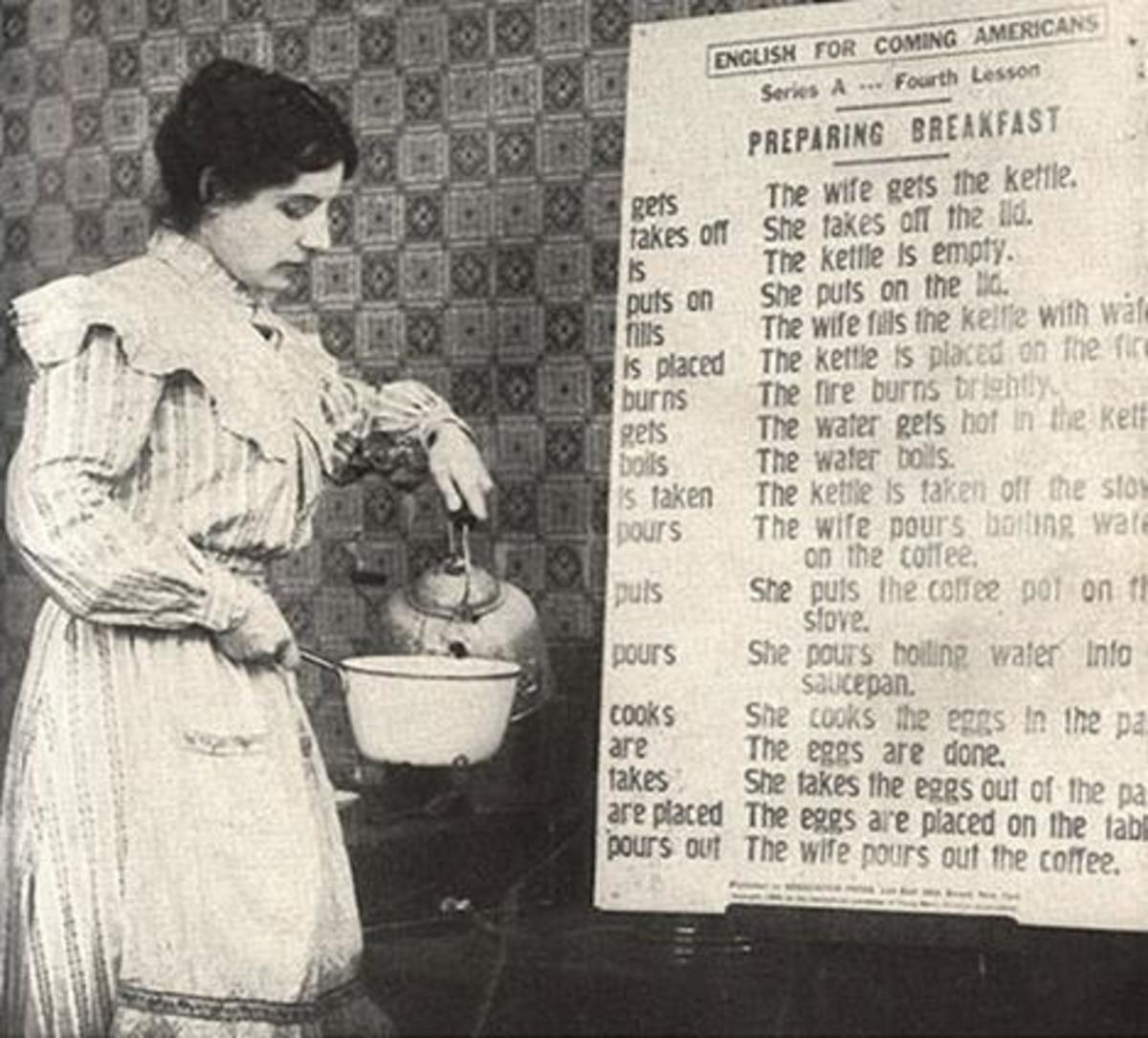 A WWI Era Italian immigrant makes her American breakfast with ESL lessons from the YMCA circa 1918.
