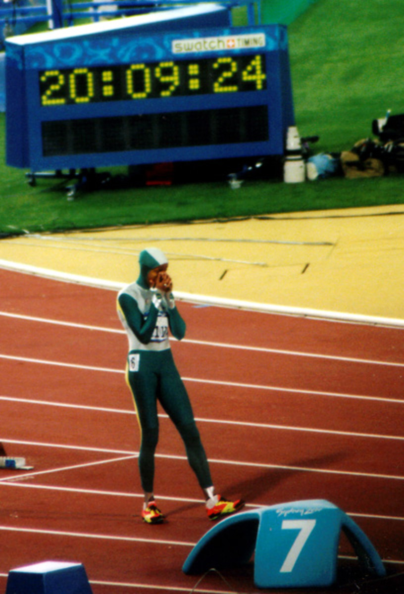 Cathy Freeman wins Olympic Gold Medal in the women's final 400m during the Sydney 2000 Summer Olympics.