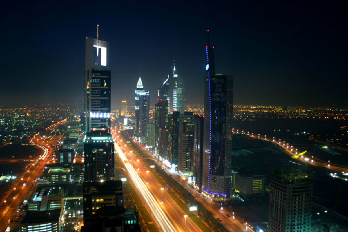 Dubai night skyline, United Arab Emirates