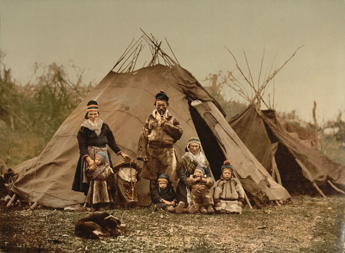 Sami (Lapp) family in Norway around 1890 - 1900.