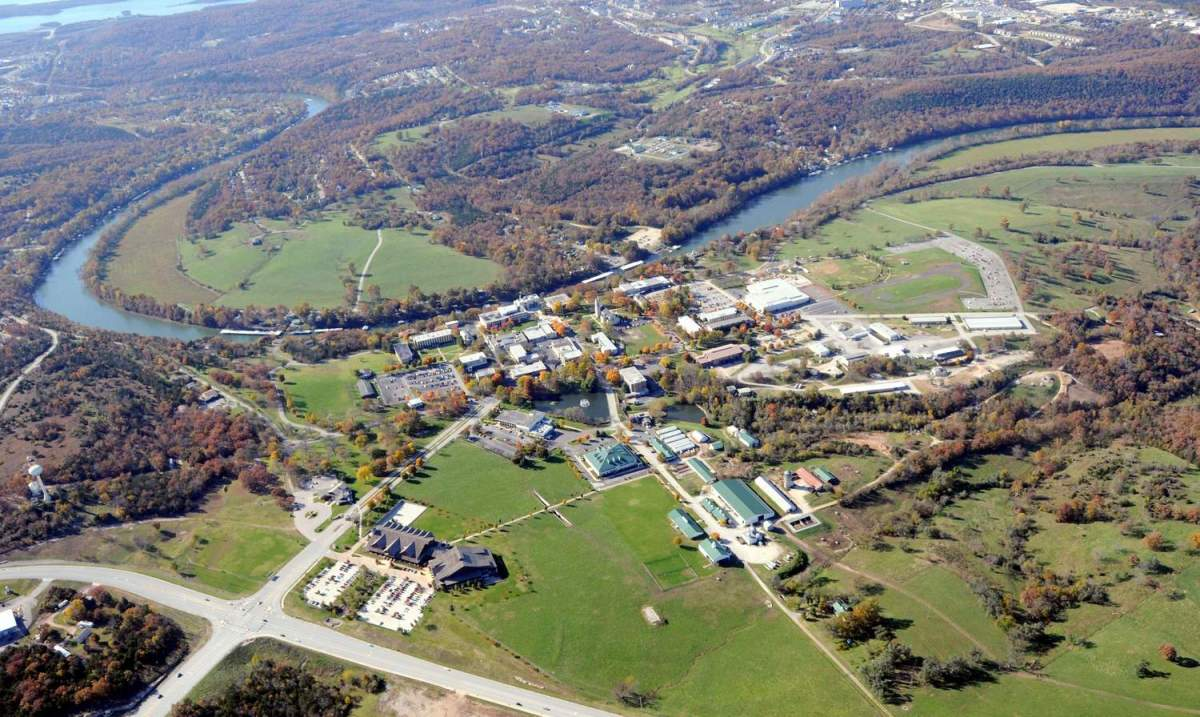 Aerial view of the College of the Ozarks