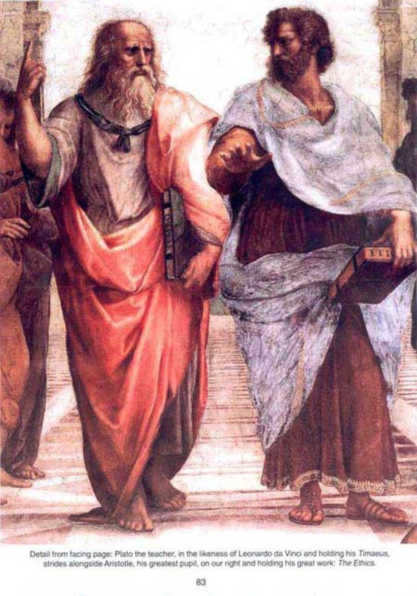 Plato, the teacher, holding the Timaeus strides alongside Aristotle, his greatest pupil, on our right and holding his great work:  The Ethics.