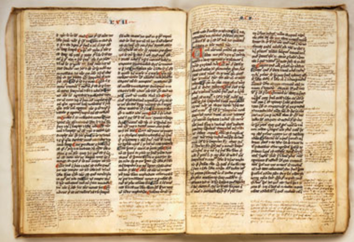"A medieval manuscript of Aristotle copied in the original Greek--if you look carefully, you will see notes in the margins called ""scholia"", which were preserved as commentary for subsequent readers and copyists."