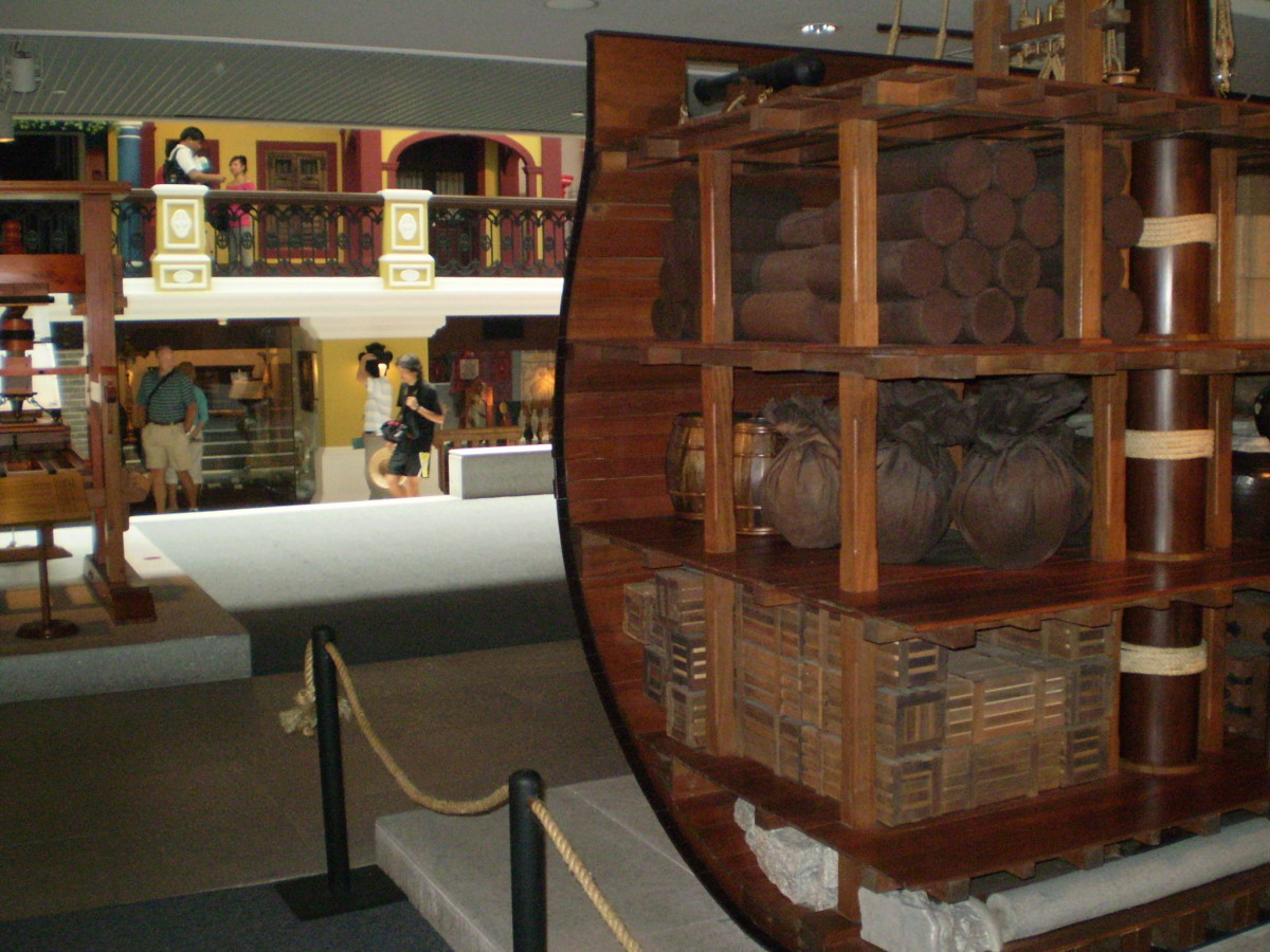 A scaled-down model of an exploration era Portuguese caraval on display at the Museum of Macau, Macau, China.