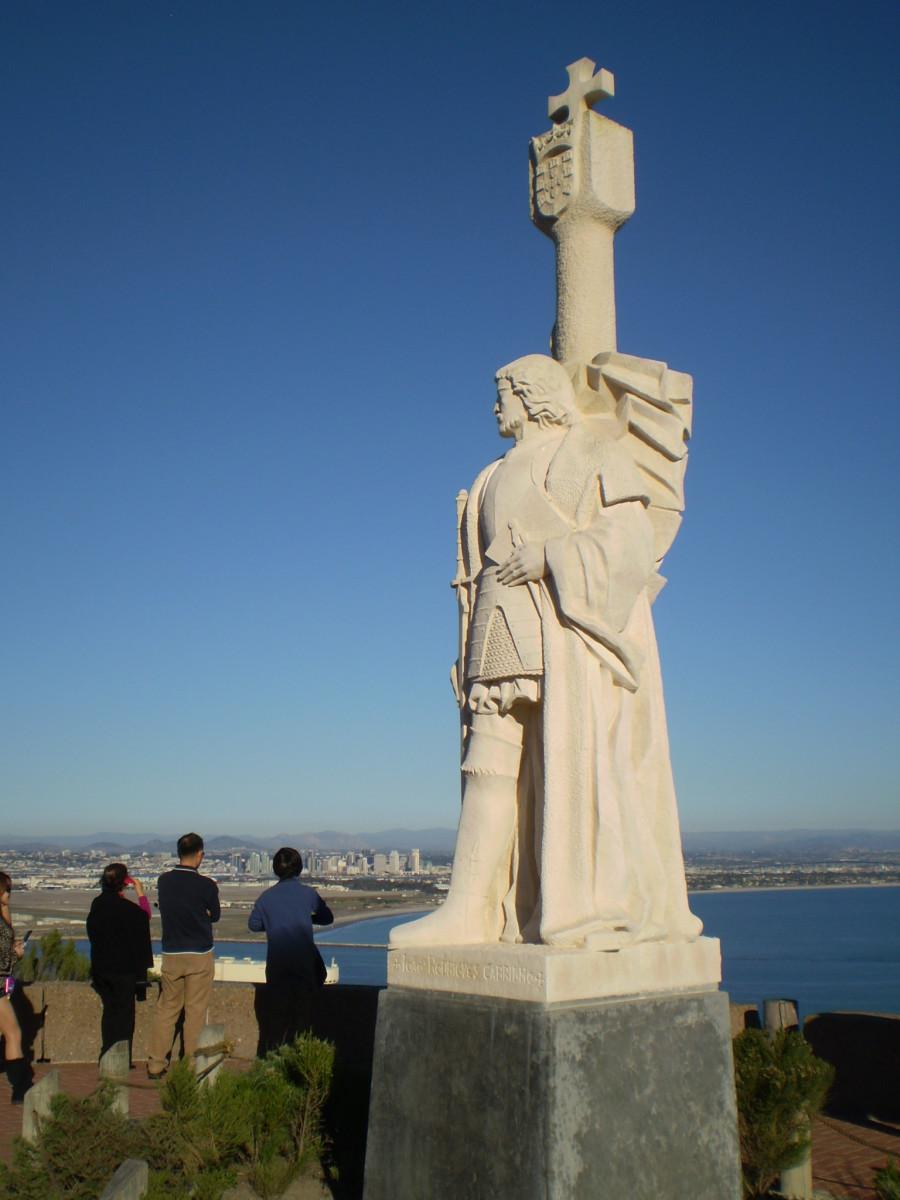 The Cabrillo National Monument in San Diego, California commemorates Cabrillo's 1542 landing.  Cabrillo was a Portuguese who sailed for Spain.