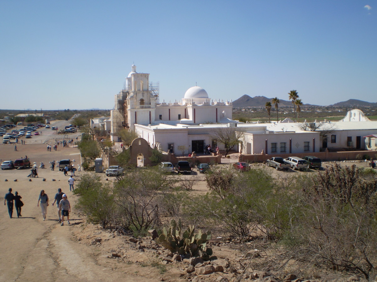 Founded in 1699, the sprawling Mission San Xavier del Bac, outside Tucson, Arizona, was one of many such missions in Spanish America. These churches were built to convert Native Americans.