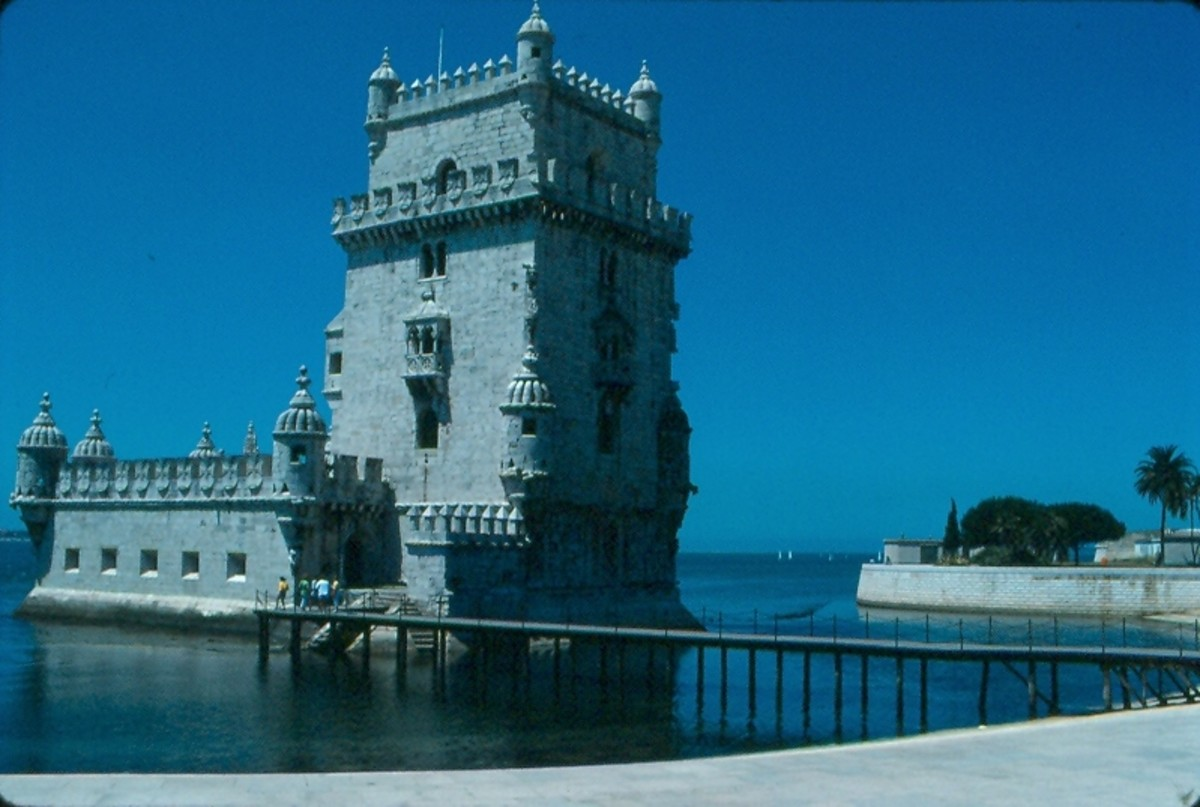 The Belem Tower at the mouth of Lisbon's Tagus River.  Built in the early sixteenth century by King John II, it functioned as a fortification as well as a ceremonial gateway.