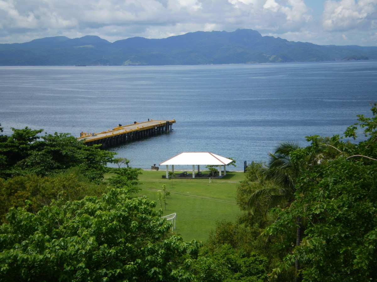From Corregidor island, Philippines, looking north. The strategic location of this island, at the mouth of the Bay of Manila, was not lost on the Spanish, and it was originally used as an outpost for that purpose.