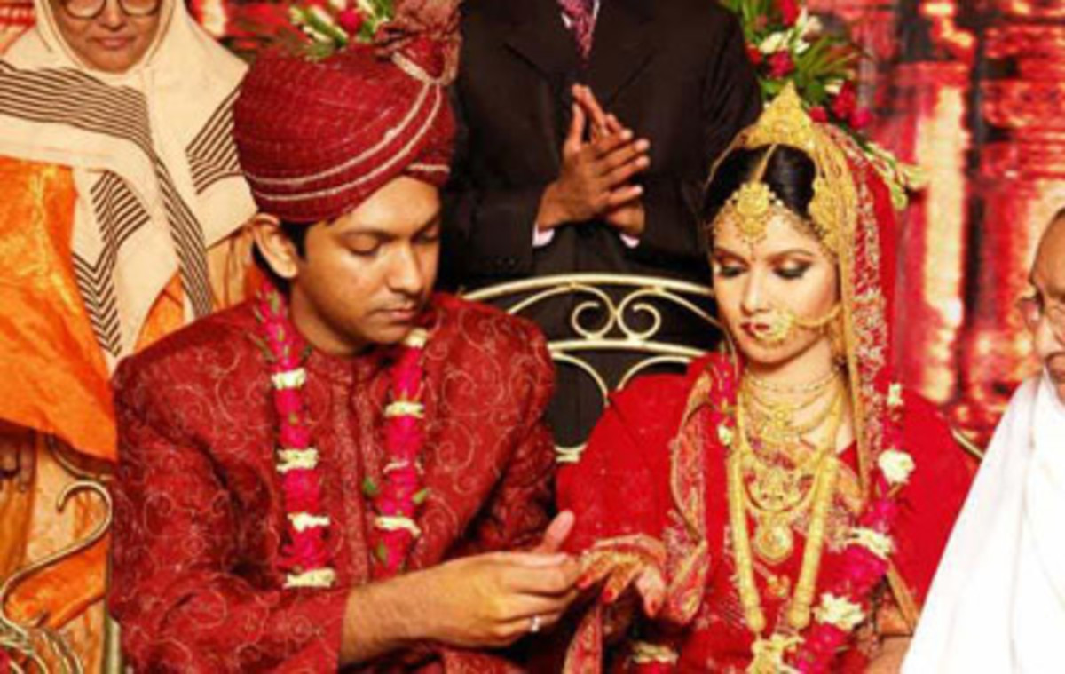 An arranged marriage wedding ceremony