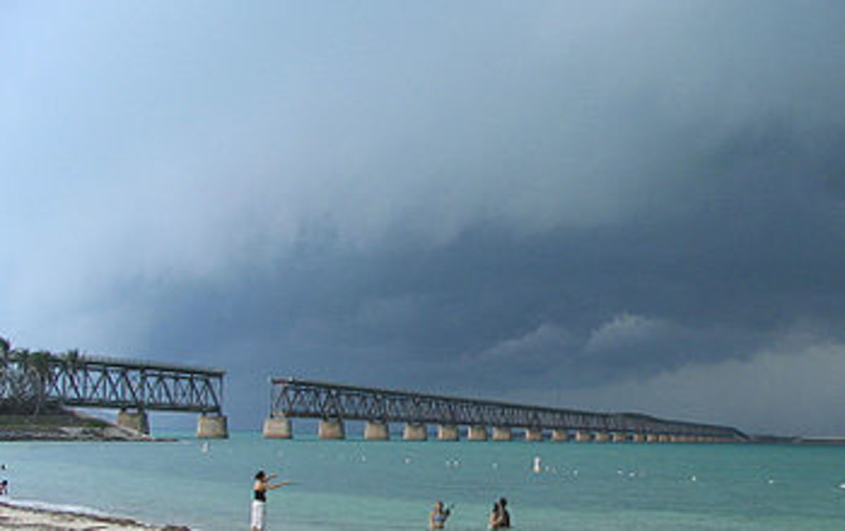The Bahia Honda Rail Bridge today viewed from Bahia Honda State Park. A section was removed to permit the passage of sail boats.