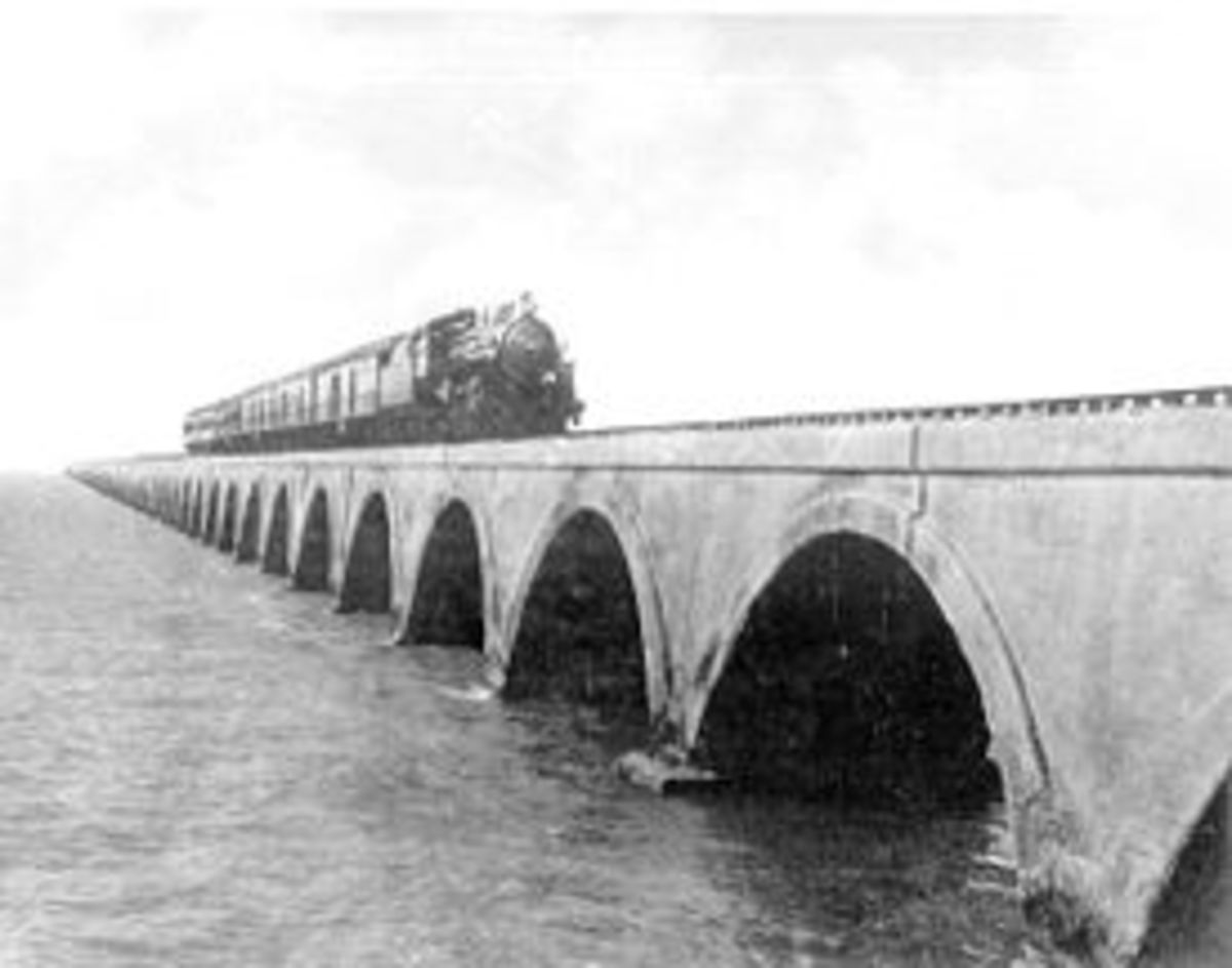 Florida East Coast Railway train traveling on an Overseas Railroad (Key West Extension) railroad bridge. photo from Florida Photographic Collection