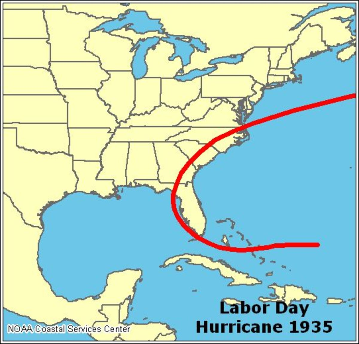 NOAA map showing path of the 1935 Labor Day Hurricane.