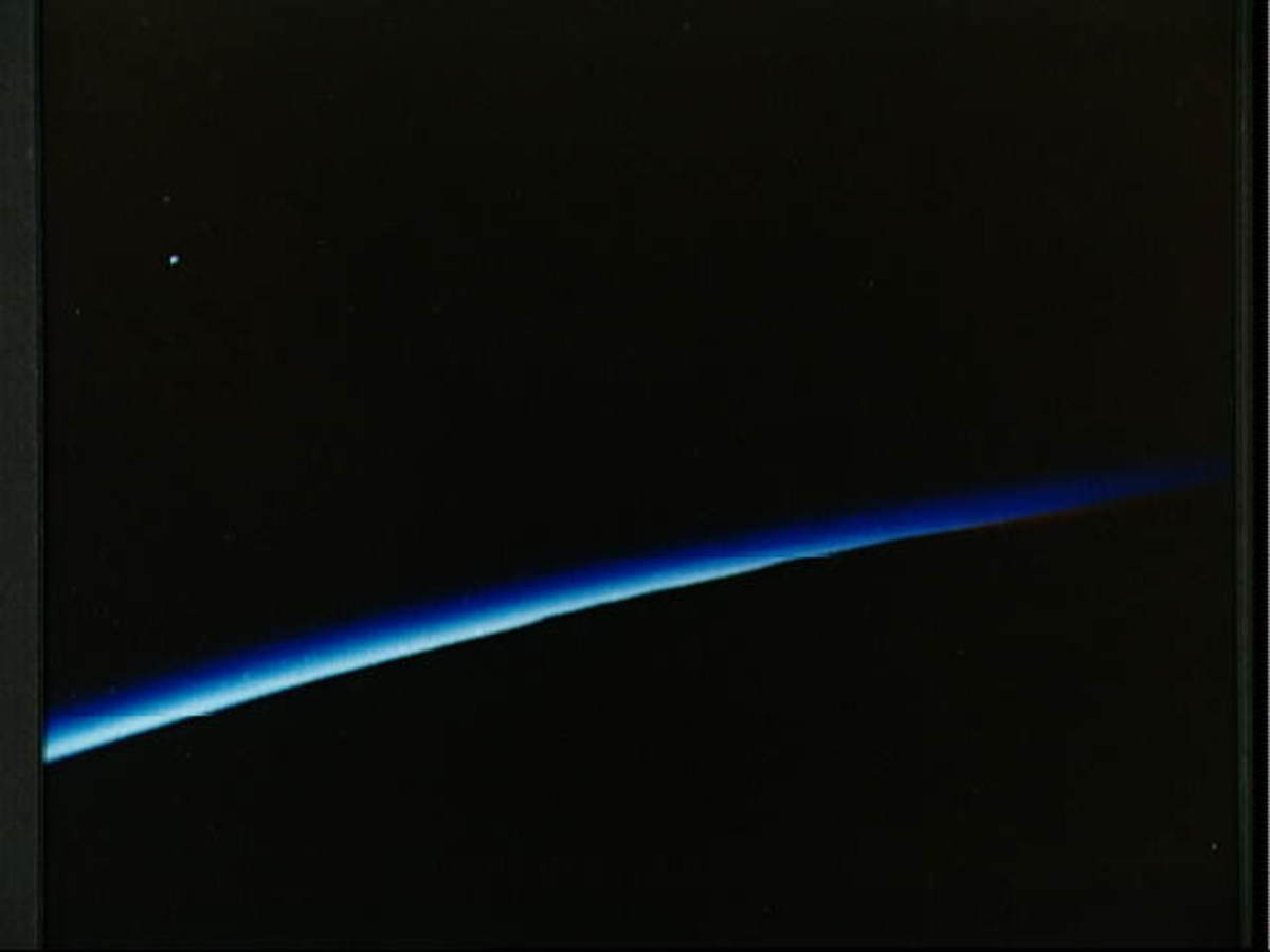 Photo of sunset taken by John Glenn from orbit. Photo courtesy of NASA.