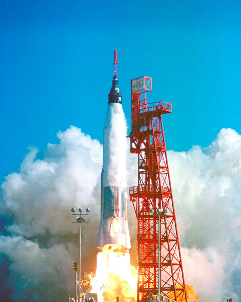Friendship 7 is launched into orbit by a modified Atlas-D rocket.Photo courtesy of NASA.