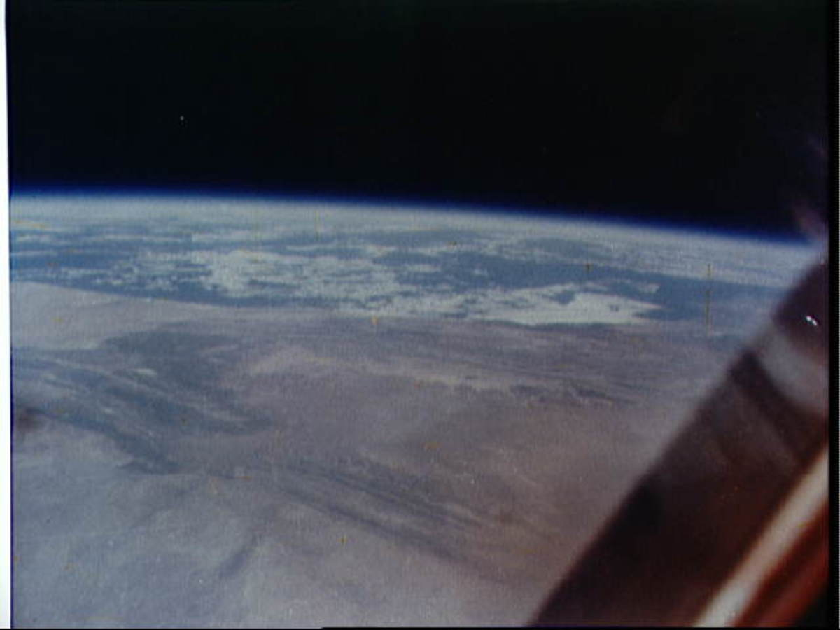 Photo of earth taken by John Glenn from orbit. Photo courtesy of NASA.