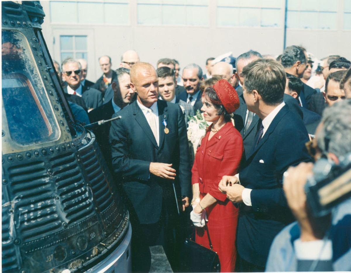 John Glenn meets with President Kennedy following his mission. Photo courtesy of NASA.