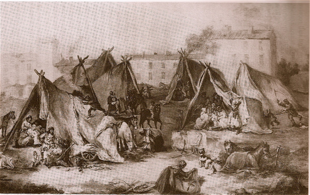 HUNGARIAN GYPSIES AT CARPENTRAS IN 1868 (PAINTING BY DENIS BONNET)