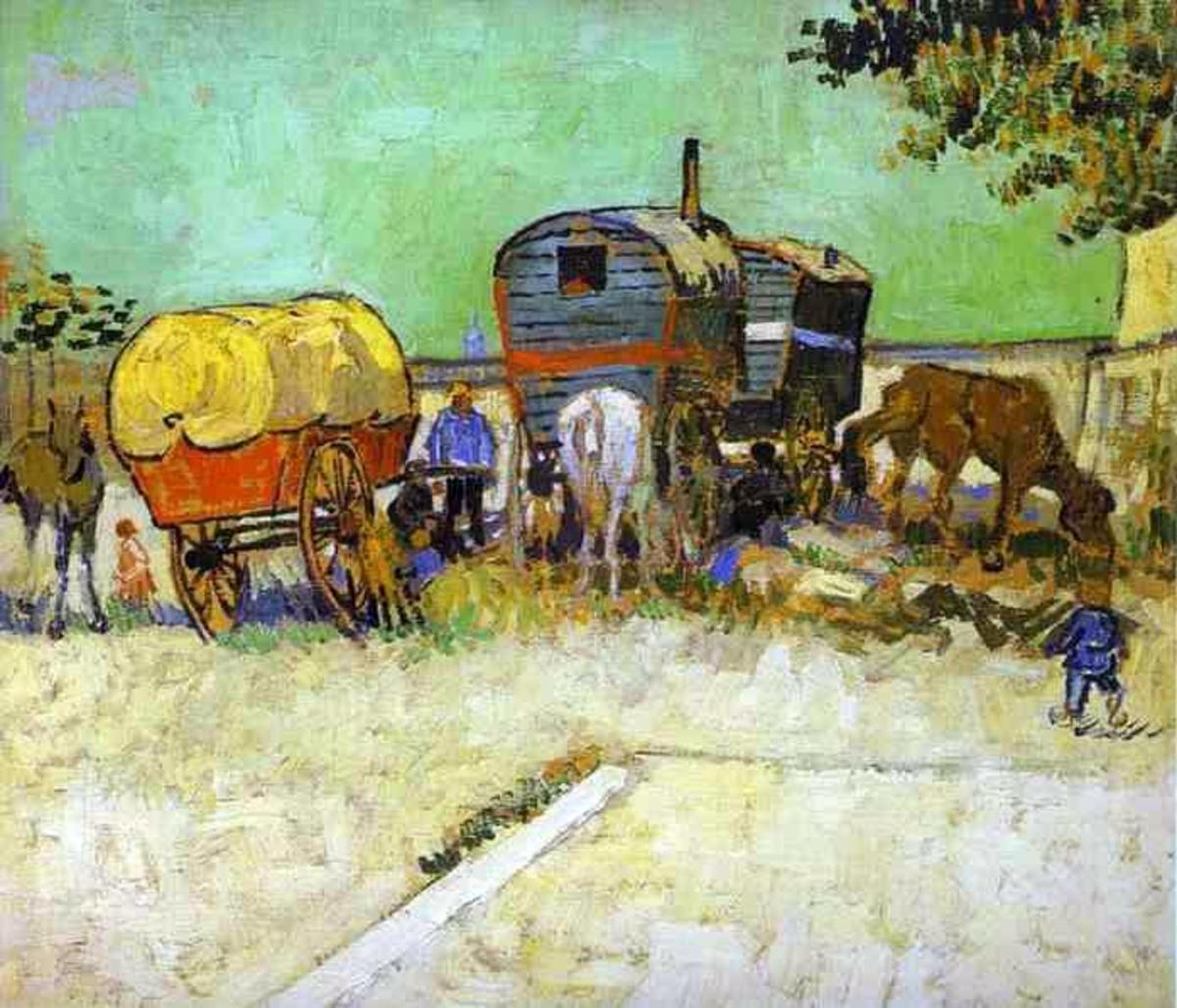 THE CARAVANS - GYPSY CAMP NEAR ARLES (PAINTING BY VINCENT VAN GOGH)