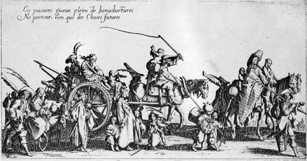 GYPSIES ON THE MOVE (ENGRAVING BY JACQUES CALLOT, 1622)