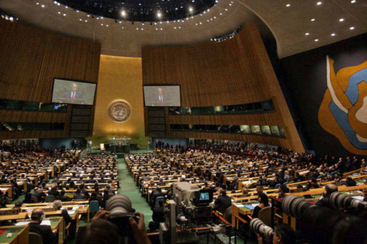 The United Nations General Assembly hall at its headquarters in New York.