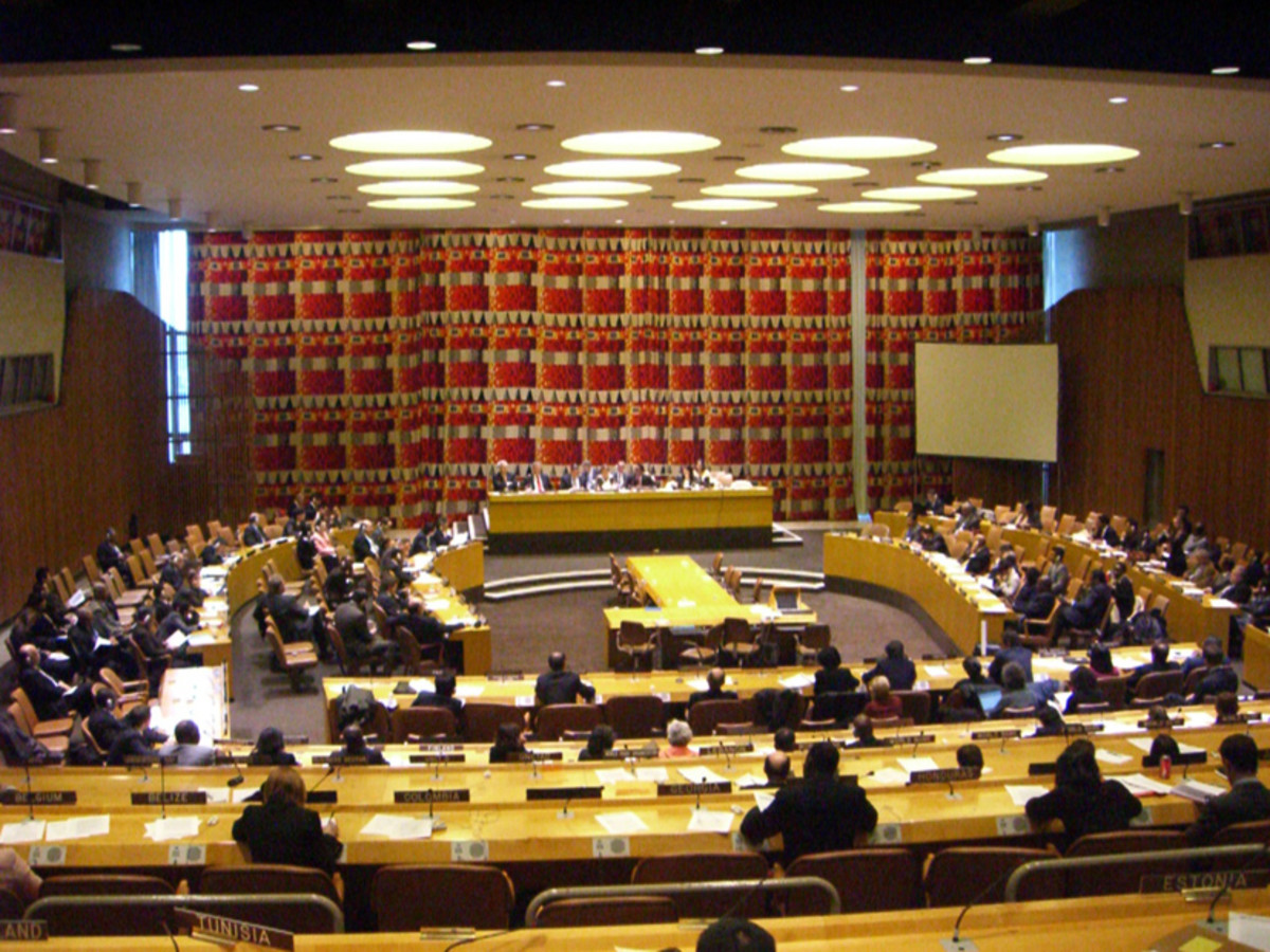 The room of the United Nations Economic and Social Council at its headquarters, New York.