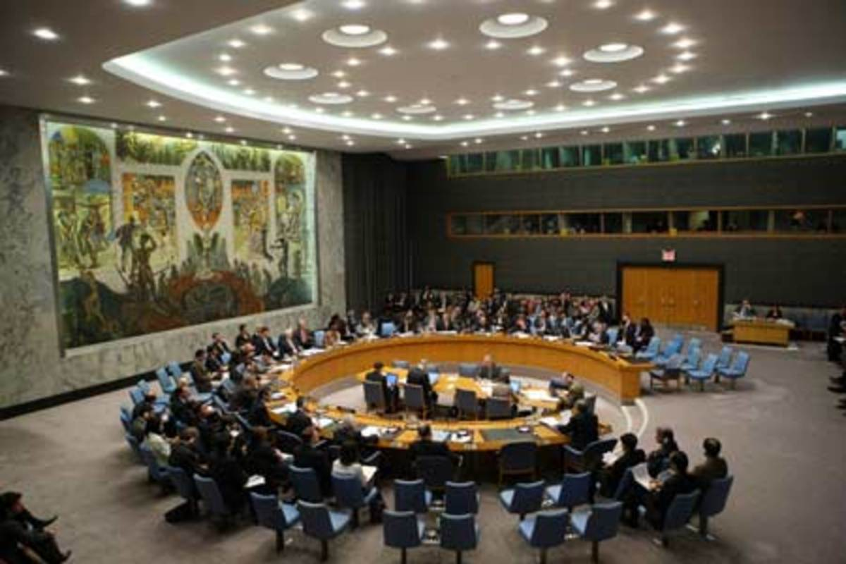 The United Nations Security Council Chamber in New York, also known as the Norwegian Room.