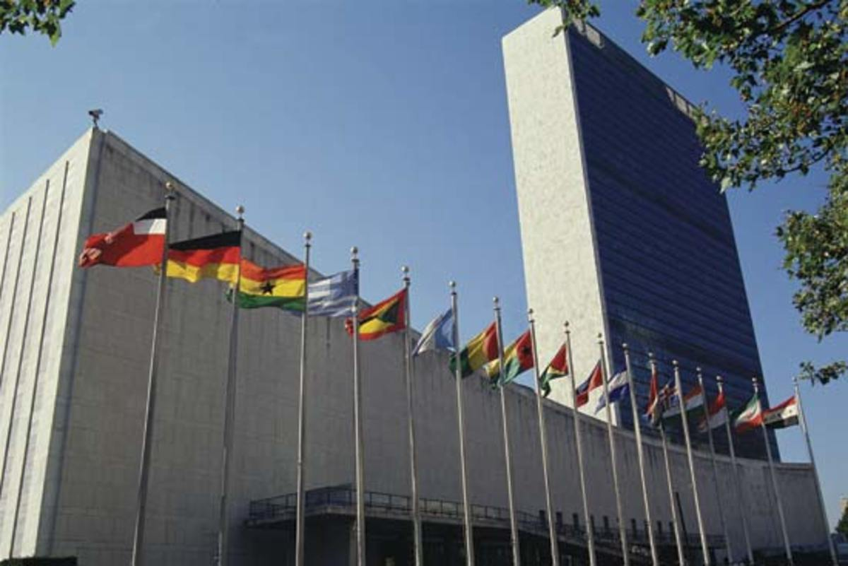 The United Nations Secretariat Building at the United Nations headquarters in New York City, United States of America.